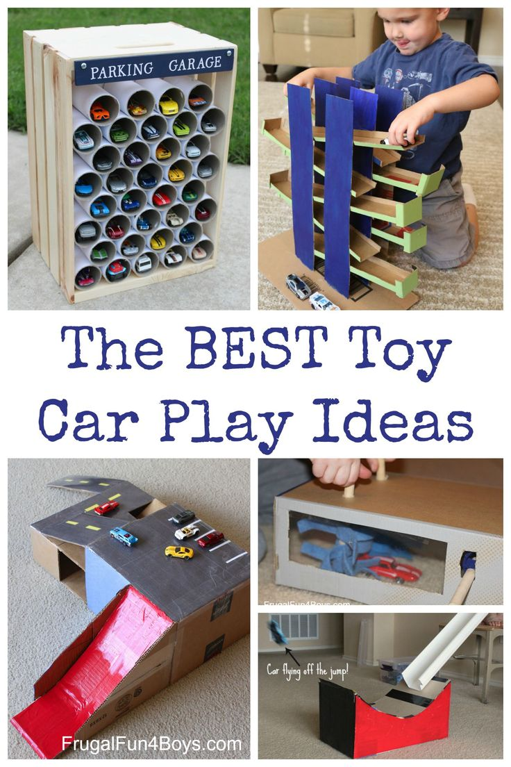 Simple things to make for toy cars out of cardboard boxes, etc. Love these play ideas for Hot Wheels or Matchbox cars!
