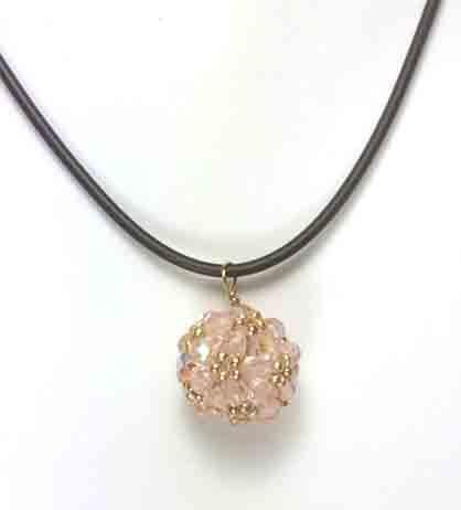 Zelkova Beads- Hana-ami  Ball Necklace Czech  Light Pink seed beads $30