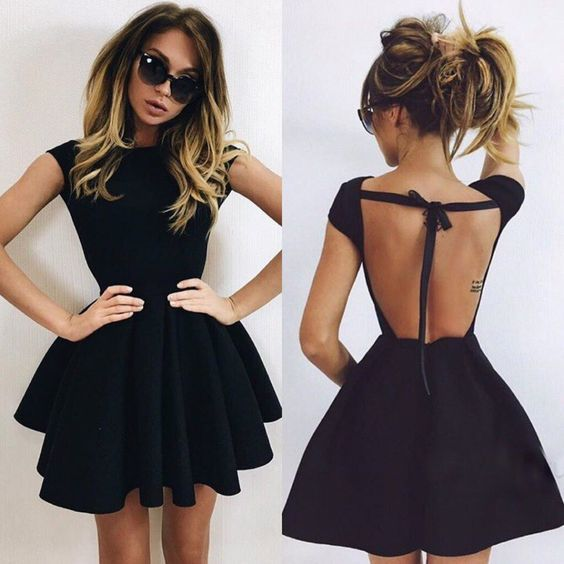 Simple short black prom dress