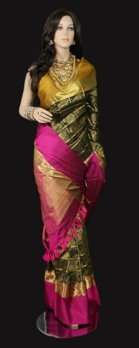 Black Kanjeeavram Saree with zari checks and double color border