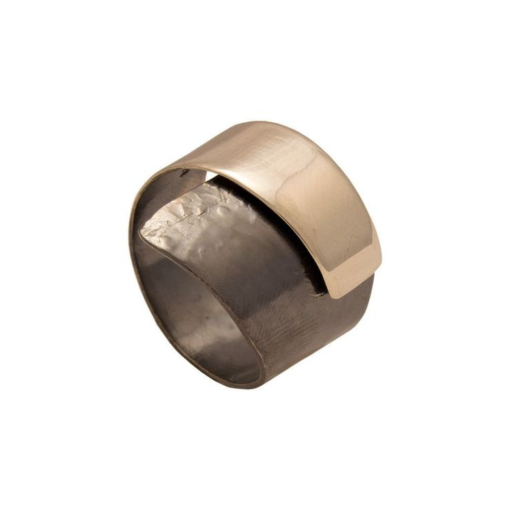 Wrap ring sterling silver with decorative black patina two colors (Oxidation)