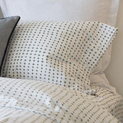 Imperfect Plus Bedding | percale cotton, fern-green plus sign pattern | a Schoolhouse Electric Exclusive