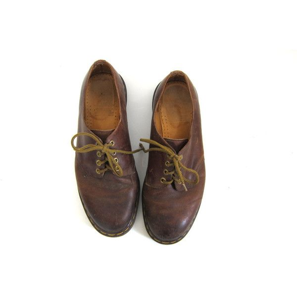vintage 90s Doc Martens // Leather Brown Shoes // men's DR Marten's (270 CNY) ❤ liked on Polyvore featuring mens, men's shoes and shoes