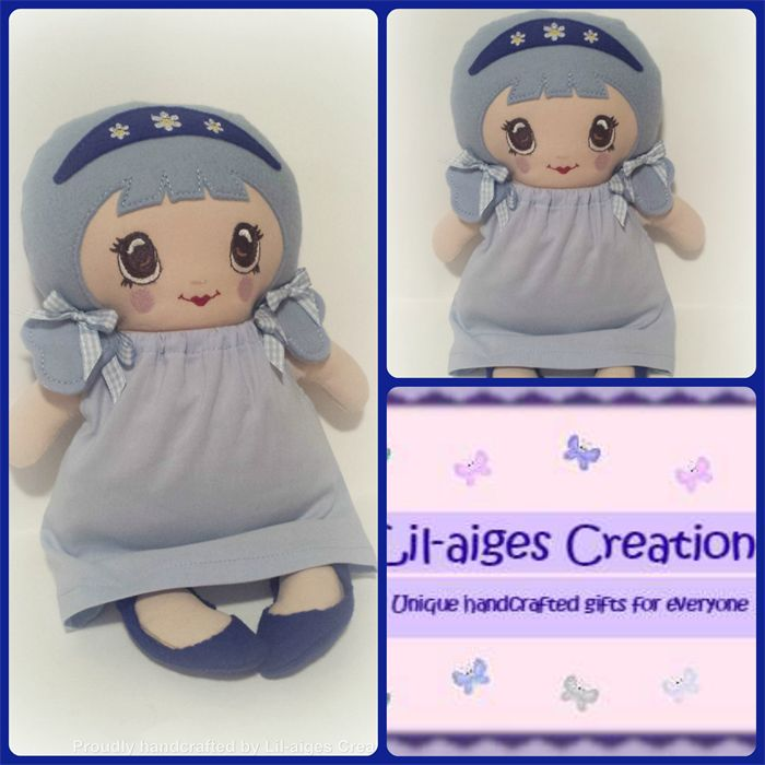 Soft Cloth Rag Doll with Blue Hair, Ribbons, Bows, Dress and Shoes