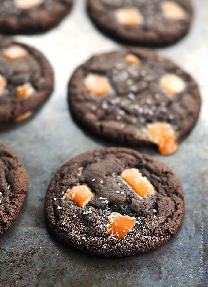Dark Chocolate Salted Caramel Cookies