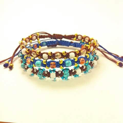Colorful stackable macrame bracelets #my_armcandy