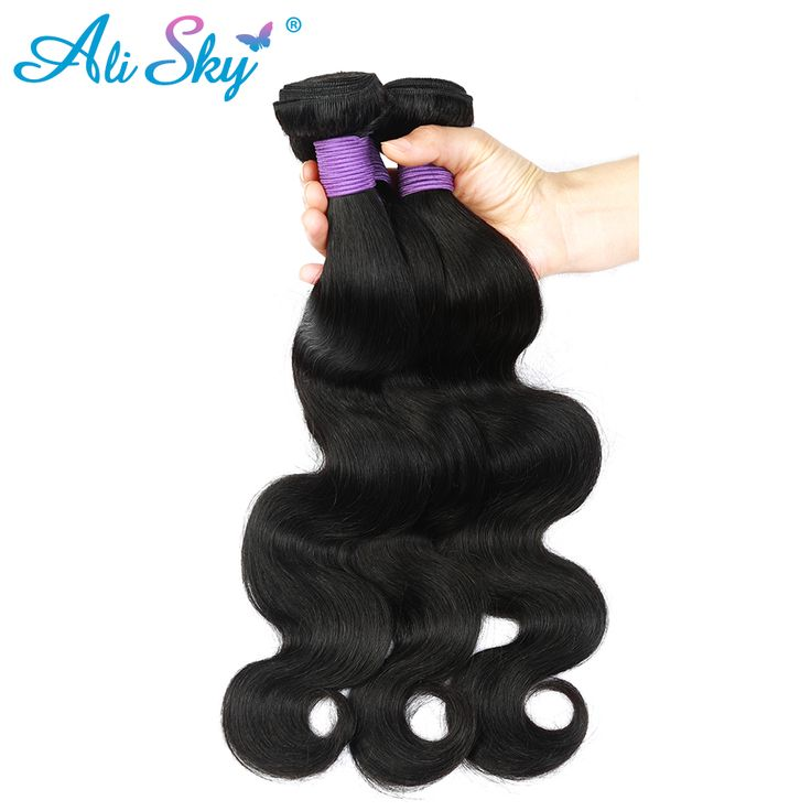 Malaysian Body Wave Virgin Hair 3Bundles Hair extensions Color 1B Ali SKy Company Can be Permed Unprocessed Wet and Wavy