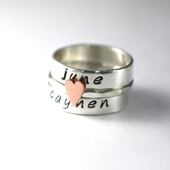 Custom Ring Stack Rings Personalized Rings by LittleGreenRoom