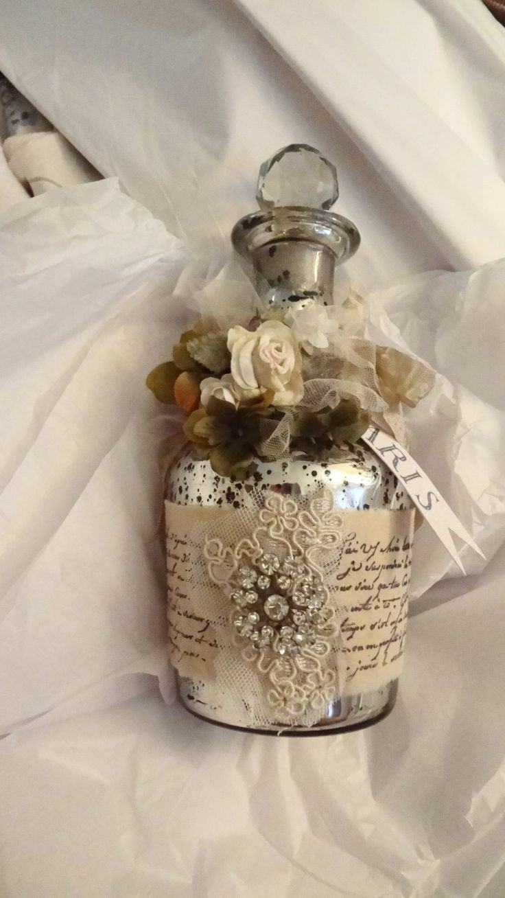 Upcycled Recycled bottle, Mercury Glass Bottle, Paris Apartment Decanter , Shabby Home Decor, Altered Bottle, Wedding Decor, Gift For Her by BerthaLouiseDesigns on Etsy https://www.etsy.com/listing/253223502/upcycled-recycled-bottle-mercury-glass