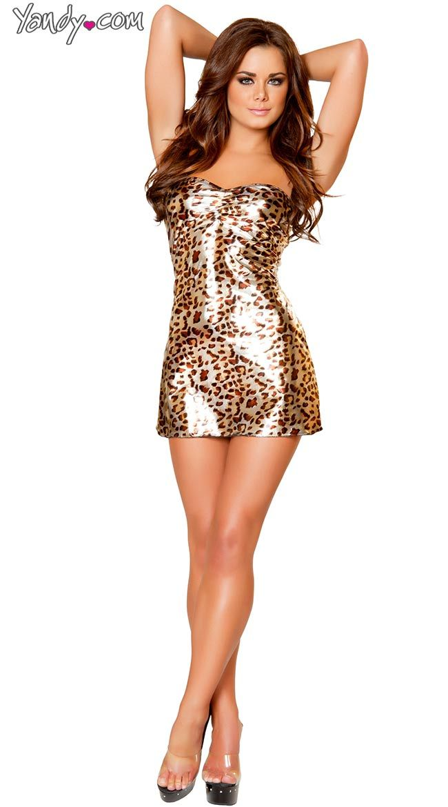 Golden Leopard Pucker Top Mini Tube Dress Leopard Print