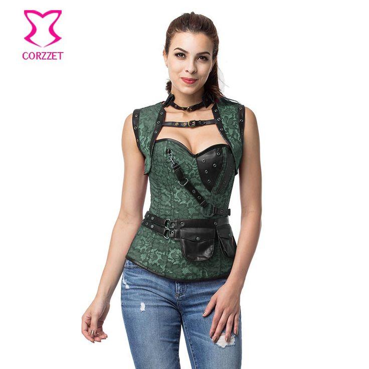 Green Steel Bone Corset Overbust Burlesque Corsetto Steampunk 6XL Gothic Clothing Espartilhos E Corpetes Sexy Korsett For Women