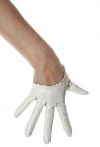 Белые Короткие Перчатки Leather Look
