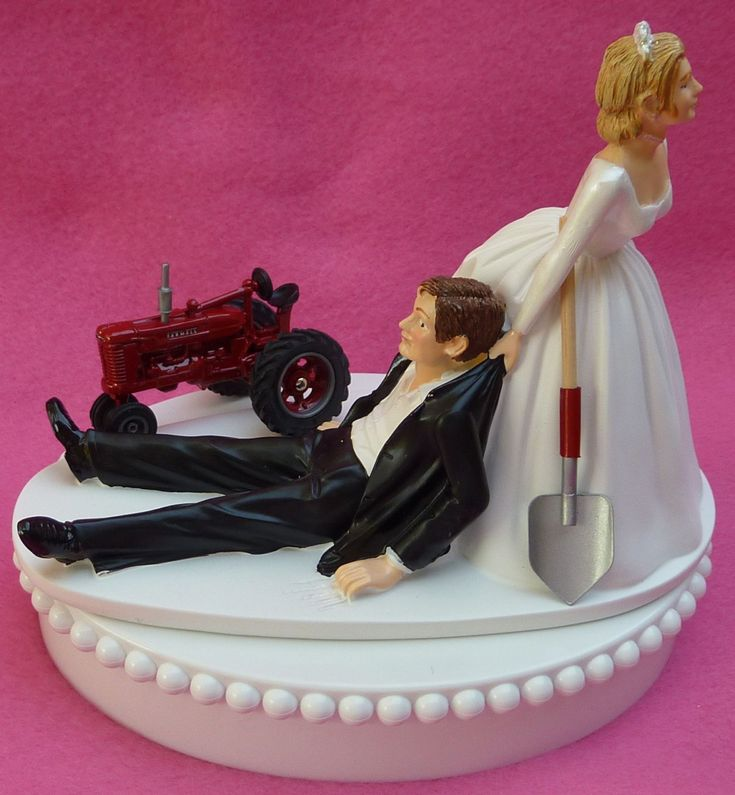 Wedding Cake Topper International Harvester IH Red Farmall Farm Tractor Themed W Bridal Garter