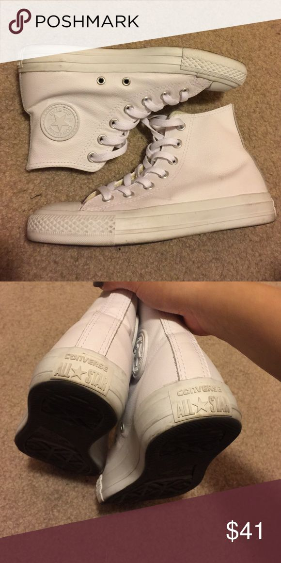All white leather converse high top chuck taylors 10/10 condition! Used once just a little dirty! It's too big for me :( size 4 in men's 6 in women's Brandy Melville Shoes Sneakers