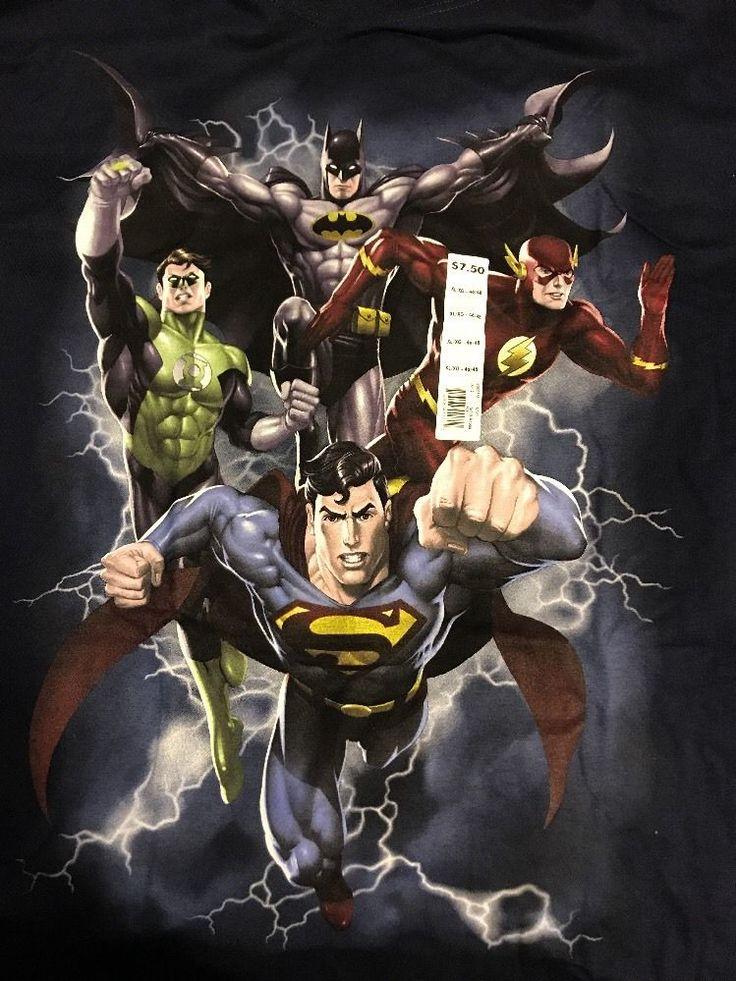 Justice League JLA Shirt Adult XL T-SHIRT Superman Batman Green Lantern Flash | eBay