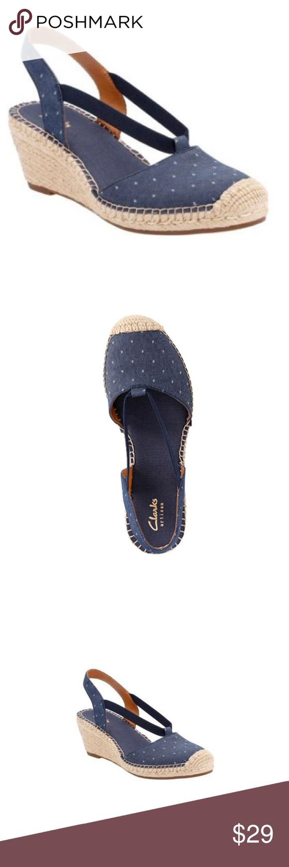 Clarks Artisan Patrina Kaelie Espadrille Wedge EUC Clarks Artisan Patrina Kaelie Espadrilles • Wedges • Slingback • Polka dot in Blue • EUC • worn on Cruise ship only • no trades Clarks Shoes Wedges