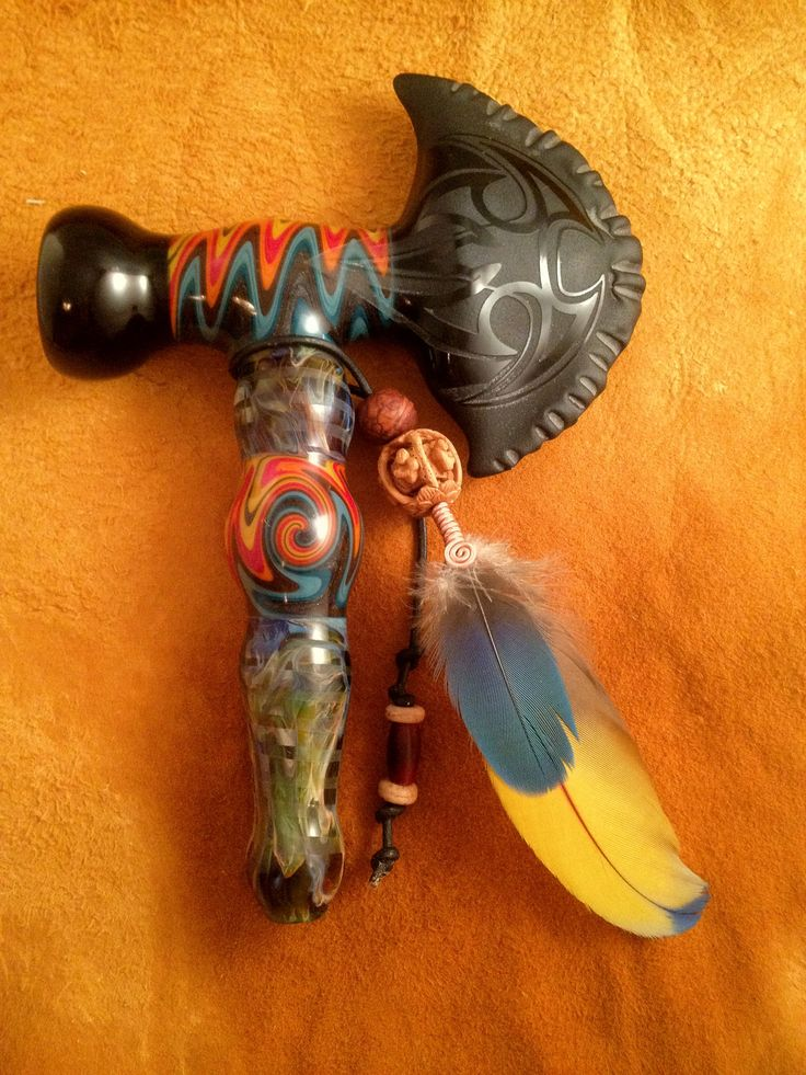 Tomahawk+Fire+and+Ice+Peace+Pipe+Hand+Blown+Glass+Pipe+by+BoGlass,+$200.00