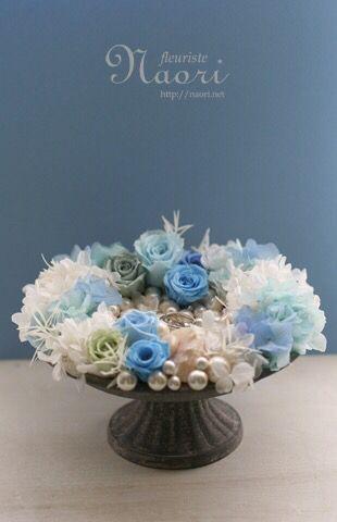 ブルーローズと真珠のリングピロー Blue rose and Pearl / Mermaid / sea / ring pillow / wedding