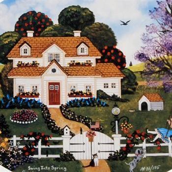 "Jane Wooster Scott | Jane Wooster Scott! ""Swing Into Spring"" Framed Ltd Ed Lithograph ..."