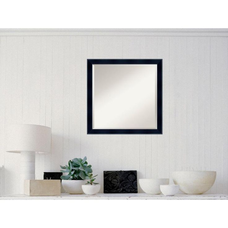 Madison Black Wood 23 in. W x 23 in. H Contemporary Framed Mirror