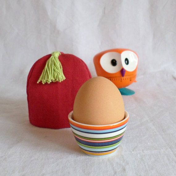 Join us for Dinner  set of 2 red cotton egg cosies by TableStories