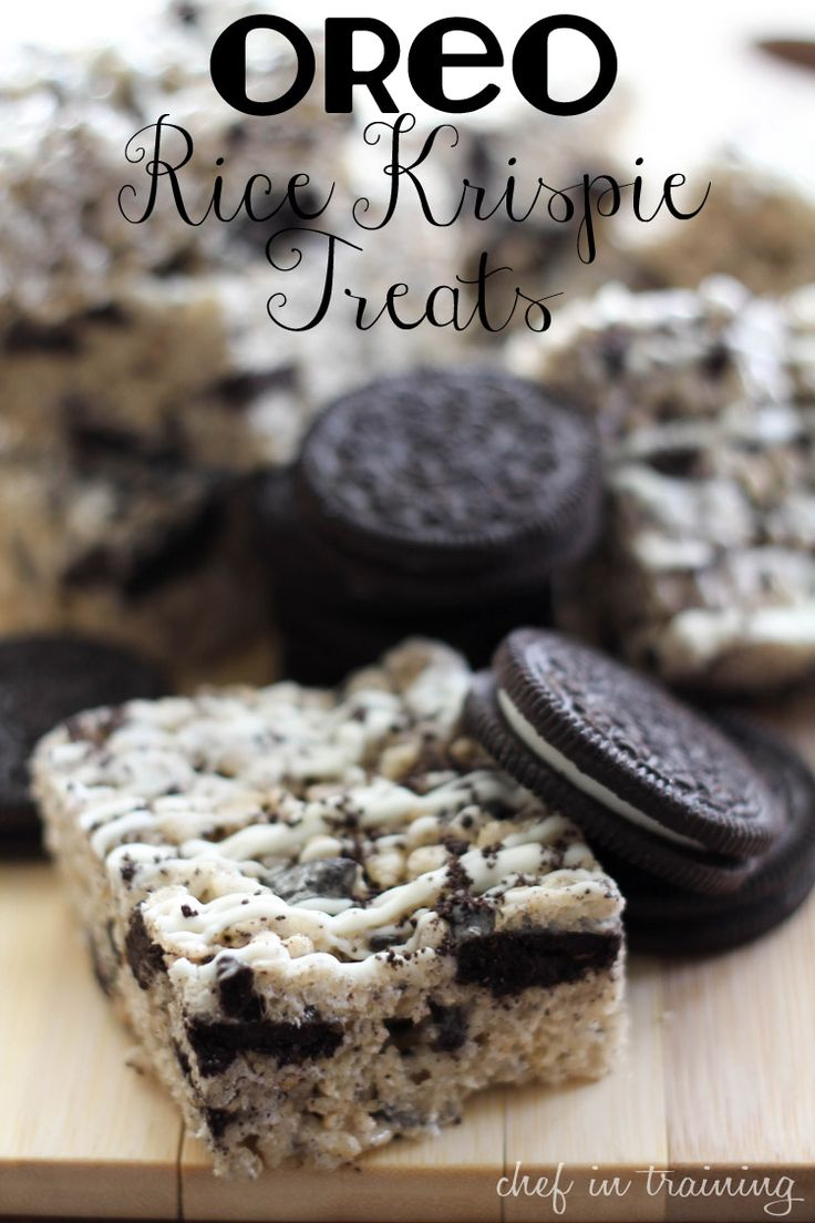 Oreo Rice Krispie Treats.. Made these. They make plain rice crispies treats