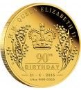 2016 Queen Elizabeth II 90th Birthday 1/4oz Gold Proof Coin