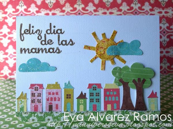 Tarjeta diseñada para el dia de las madres con la técnica del collage, completamente realizada de papel estampado.