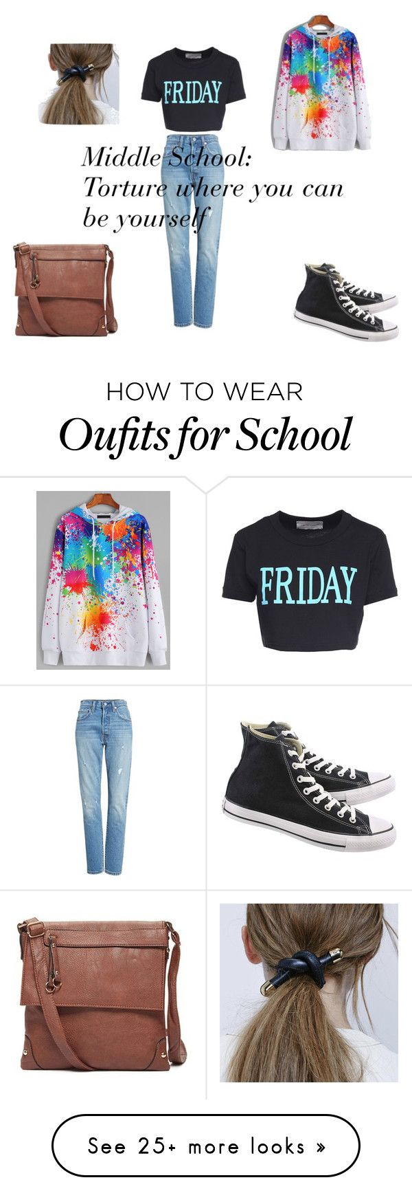 """Middle School"" by narwhalcat101 on Polyvore featuring Levi's, Alberta Ferretti, WithChic and Converse"