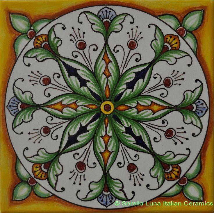 Hand painted Italian Ceramic Tiles - Yellow Green