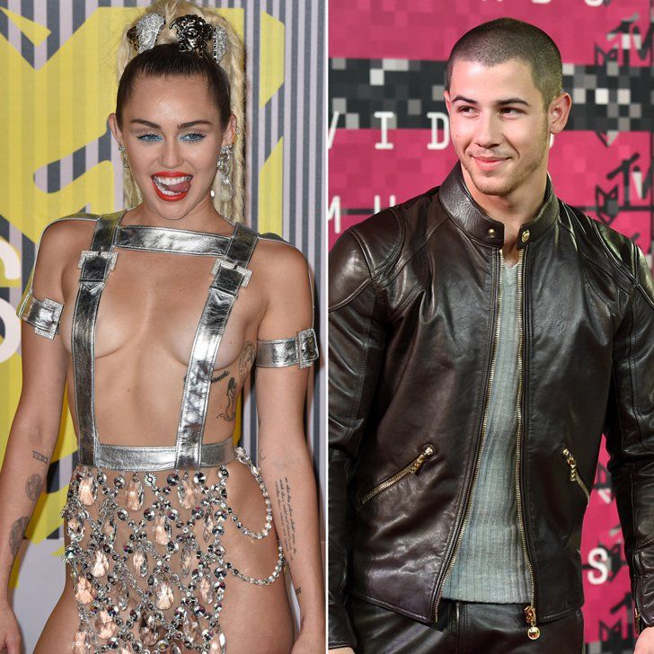 Pin for Later: 5 Awkward VMAs Run-Ins We Would Have Loved to See — and 1 We Actually Did Miley Cyrus and Nick Jonas