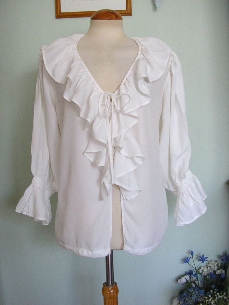 VINTAGE 80'S FRILLY NEW ROMANTIC RUFFLE SHIRT PIRATE ...