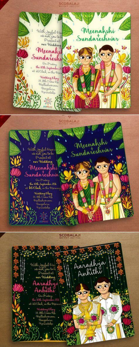 SCD Balaji Illustration Wedding Invitation Glittering