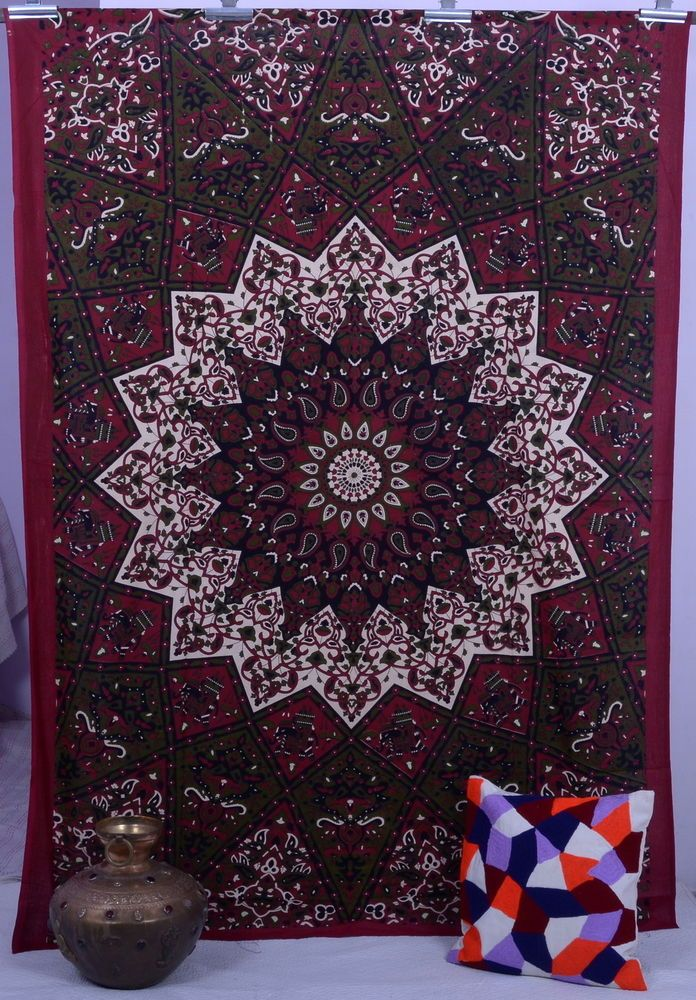 Indian Maroon Star Hippie Mandala Psychedelic Wall Hanging Tapestry Throw Ethnic