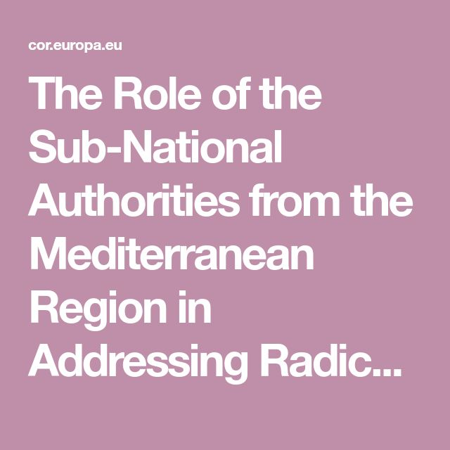 The Role of the Sub-National  Authorities from the Mediterranean  Region in Addressing Radicalisation  and Violent Extremism of  Young People