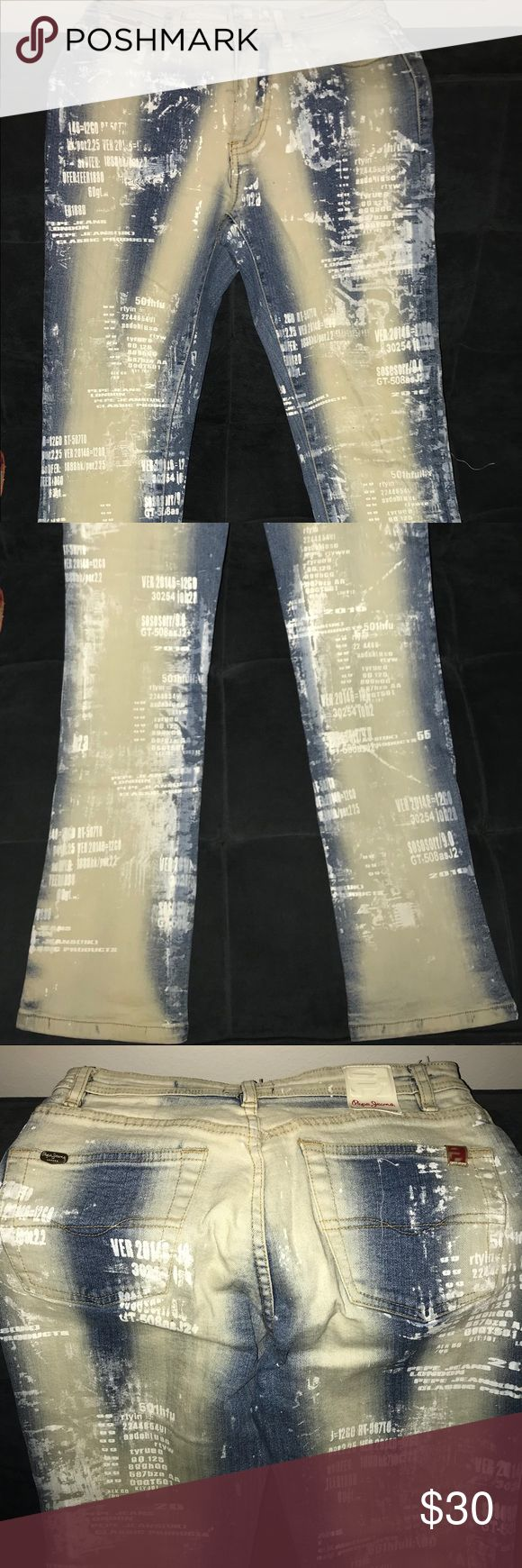 Pepe Jeans slim fit stone wash size 26/6 US Pepe Jeans slim fit stone wash size 26/6 US. Unique print Pepe Jeans Jeans Straight Leg
