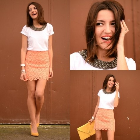 Coral skirt: Fashion, Style, Skirts, Clothes, Coral Skirt, Outfit, Closet, Hair, Color Combination