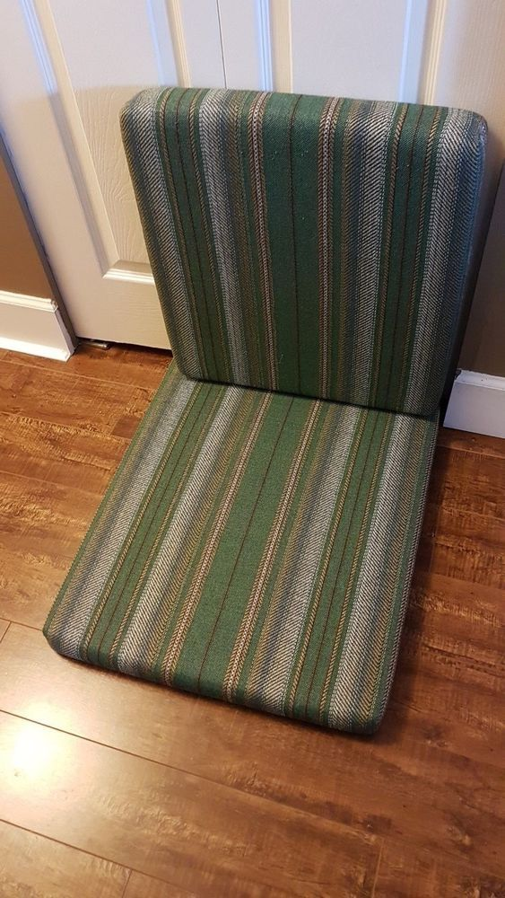 VINTAGE PADDED SEAT CUSHIONS FOR MCM TEAK LOUNGE CHAIR GREEN & GREY STRIP #MidCenturyModern