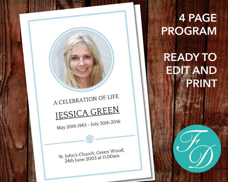 59 best Traditional Funeral Program Templates images on Pinterest - free printable obituary program template
