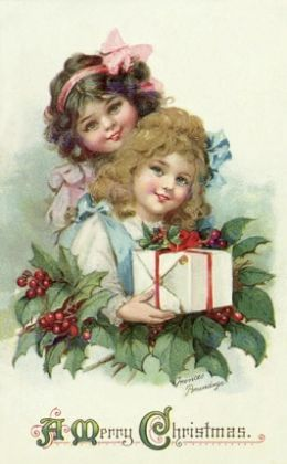 "Free Vintage Christmas Cards and Tags - This one is titled by the page, Little Girls with Holly and Presents, and reads, ""A Merry Christmas.""  Good site."