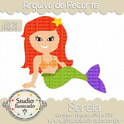 Mermaid, Sereia, Estrela do Mar, Starfish, Mermaid Tail, Cauda de Peixe, Cute, Fofa, Pequena Sereia, Little Mermaid, Silhouette, Corte Regular, Regular Cut, PNG, SVG, DXF
