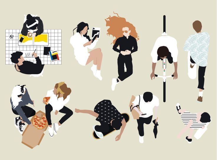 Kostenlose Flache Vektor Menschen Draufsicht Illustration Diy