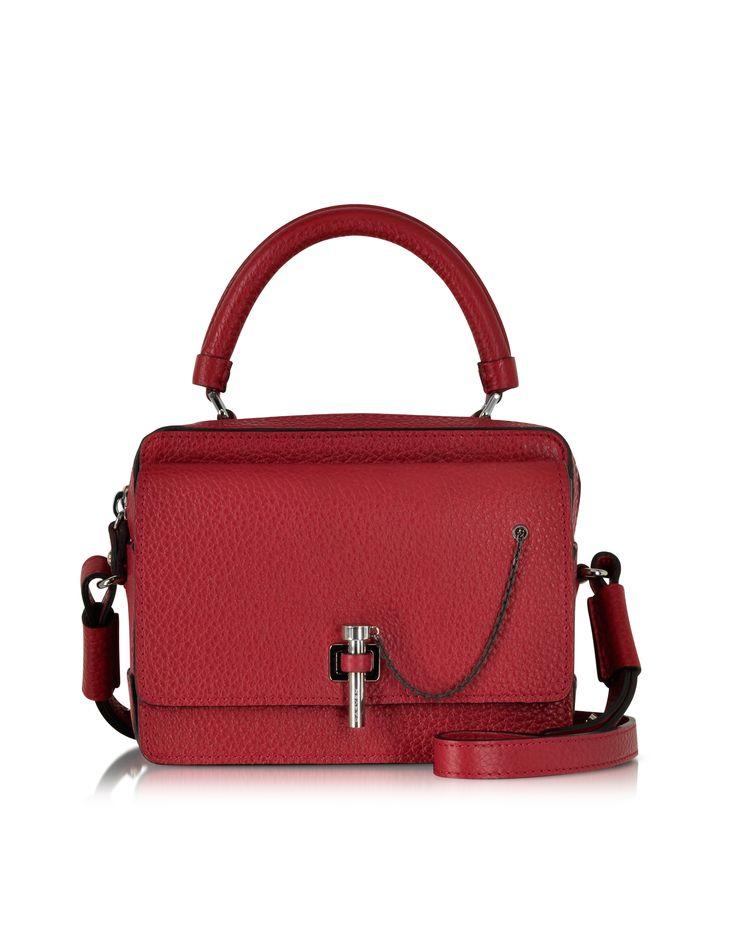 Carven Raspberry Malher Grained Leather Small Handbag at FORZIERI