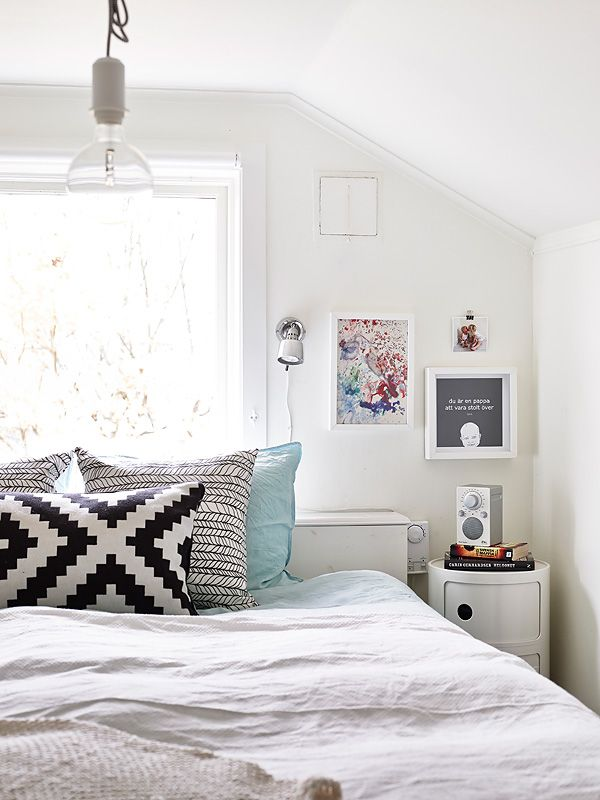 Definitely aiming for an almost all white bedroom with little pops of texture and color.