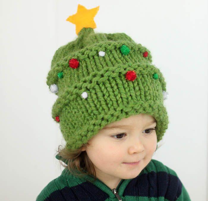 FREE Knitting Pattern- Baby Christmas Tree Hat (Gina Michele)