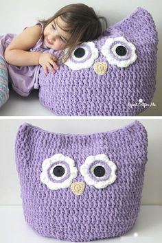 Crochet Oversized Owl PillowThis crochet pattern / tutorial is available for free...   Full Post: Crochet Oversized Owl Pillow