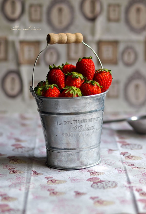 Been on the lookout for both serving ideas and planting ideas this year ~ buckets, baskets, vintage colanders, etc. I would totally put this bucket right on the table (we're not formal people), or bring it outside to the deck and munch. :)