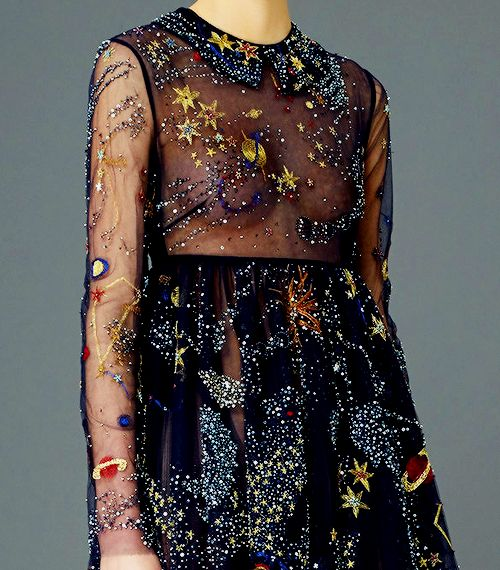 "thefountainoverflows: "" fashion-runways: "" VALENTINO Pre-Fall 2015 — Galaxy details "" Like… I know I already reblogged this, but… Details!! That cape! Tattoo ideas? """