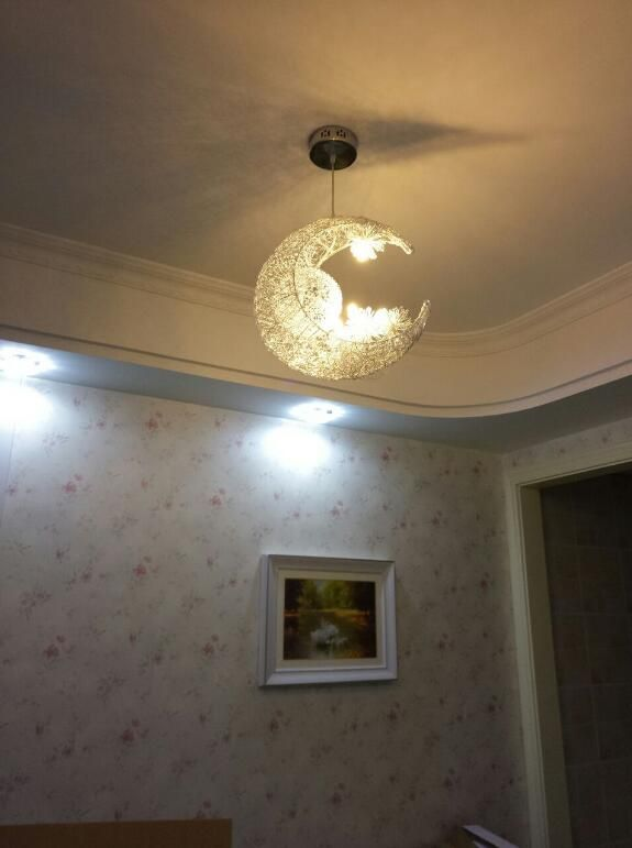 Moon Star Ceiling Light Hanging Lights For Bedroom Kids Room With