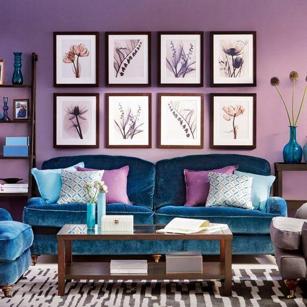Purple Living Room Ideas With Blue Sofa Set Nice Color Combo